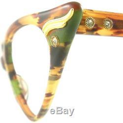 Vintage Cat Eye Glasses Eyeglasses Sunglasses New Frame Eyewear Marbled Browns