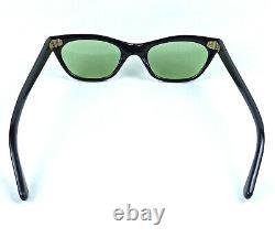 Vintage Cat Eye Sunglasses Italy Made Art Deco 1950's Black Frame Green Lenses
