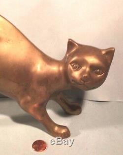 Vintage Cat Sculpture Brass Statue Figurine 1960s Towle Lifesize! Art Deco