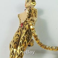 Vintage Erte Art Deco'GIULIETTA' Leopard Lady Big Cat On Crystal Leash Rare