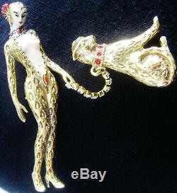 Vintage Erte Art Deco'giulietta' Leopard Lady Pin, Big Cat On Crystal Leash