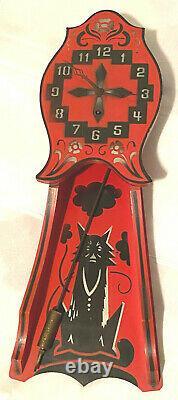Vintage Gilbert Wall Clock Halloween Black Cat Wolf Novelty Wood Dated 1928