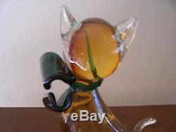 Vintage Glass Murano Siamese Cat Gold Green Bow 8 inch tall Museum Quality