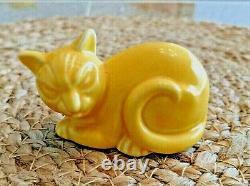 Vintage Homer Laughlin Fiesta Harlequin Animal Figurine Cat Yellow
