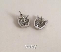 Vintage Jewellery Panther Leopard Big Cat Earrings Antique Deco Dress Jewelry