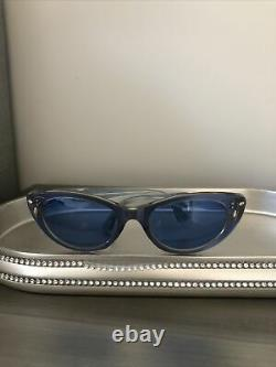 Vintage Lalu Cat Eye Sunglasses Blue Very Rare Made In France
