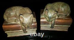 Vintage Mid Century Cats Matching Bookends Set Art Deco Composite 5