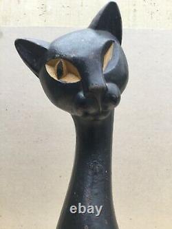 Vintage Nuydea Winking Siamese Cat Cast Iron Door Stop Art Deco