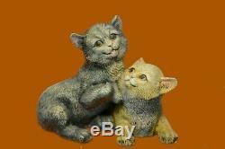 Vintage Old Bronze Signed Figure Bergman Cats Art-deco Two Cat Sculpture Deal