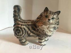Vintage Rare Beswick Grey Swiss Roll Persian Cat Standing Model 1898 Excellent