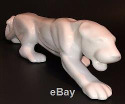Vintage Royal Haeger White Stalking Panther Big Cat Ceramic 24 Glossy Shiny