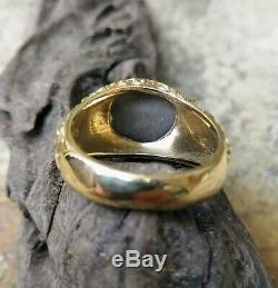 Vintage Solid 10k Yellow Gold & Cat Eye Ring Jewelry Size 9 7,85 grams Nugget