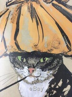 Vintage THE CATS MEOW Glamorous Smoking Cat Retro Art Deco MCM 11x13 Framed