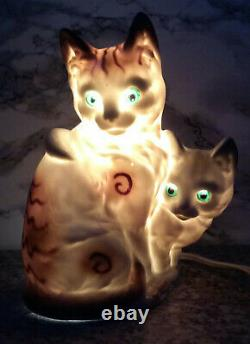 Vintage Table Lamp very beauty cats Porcelain Figurine Germany NIGHT LIGHT