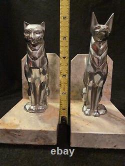 Vtg Art Deco Cubist Modernist Marble & Chrome Dog & Cat Sculpture Bookends