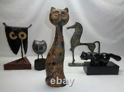 Vtg Brutalist Cast Iron Cat Sculpture Mid Century Modern Art Deco Noguchi Era