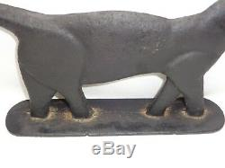 Vtg Cast Iron Black Cat Doorstop Primitive Decor Statue Art Deco Sculpture 16