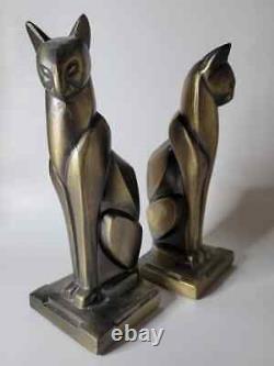 Vtg Frankart Bronze Art Deco Cubist Egyptian Siamese Cat Bookend Sculpture Pair