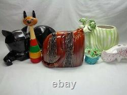 Vtg Glazed Art Pottery Cat Sculpture Mcm Deco Mod Decor Danish Modern Accent
