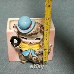 Vtg Rare Small Norcrest Porcelain Art Deco Detective Cat Planter Blue Bowler Hat