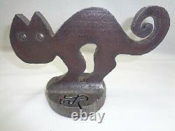 Vtg Scaredy Cat Doorstop Art Deco Mcm Brutalist Metal Sculpture Hubley Era
