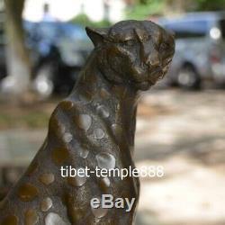 Western Art Deco Pure Bronze Leopard Cat Panther Lion cheetah Animal Sculpture