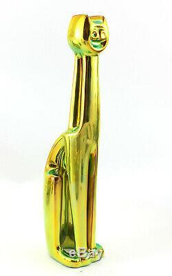 Zsolnay Iridescent Eosin Art Deco Cat Figurine