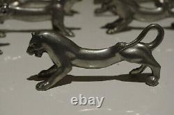 10 Art Nouveau Déco Français Couteau Plaque D'argent Repose Animaux Tigre Lion Chien Chat