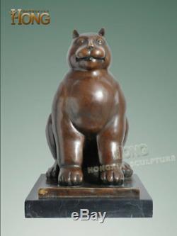 12,8 Art Déco Sculpture Deformed Résumé Chat Statue Bronze Animal