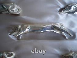 12 Christofle Gallia Chien Chat Plaque D'argent Animal Couteaux Repos Art Déco Sandoz Box
