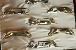 12 Christofle Plaque D'argent Chien Chat Gallia Couteaux Animaux Repos Art Déco Sandoz Box