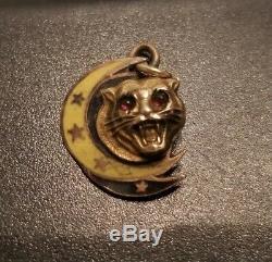 14k Gold Crescent Moon Stars Tiger Cat Charm Pendentif Figural Art Nouveau Déco