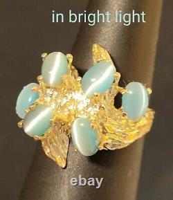 14k Solide Or Big 7.6g Ovale Blue Cats Eye Vintage Brutaliste Rétro Nugget Ring