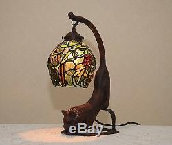 18,5 H Chat / Raisin Vigne Vitrail Lampe De Table De Bureau Artisanale Veilleuse