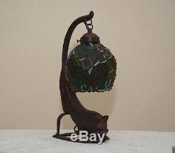 18.5h Cat / Vigne Vitrail Handcrafted Table Lampe De Bureau Veilleuse