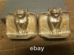 1925 Arts Et Métiers D. A. L. Bronzed Cat Bookends, Difficile À Trouver
