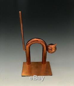 1930 Walter Von Nessen Machine Era Cat Bookends Par Chase Brass Art Deco