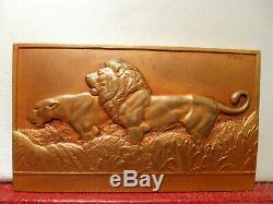 1936 Art Deco Rare Cats Médaille Par Thenot Bronze Plaque Lions