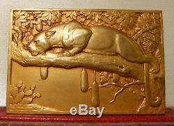 1936 Rare Art Français Cats Deco Médaille Animals Thenot Plaque Sauvage Leopard