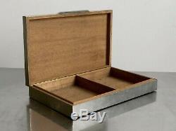 1970 Jansen Guy Lefevre Argente Art Boîte Métal-déco Moderniste Shabby-chic