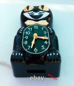 1980 Vintage Électrique Black Kit Cat Klock-kat Clock Original Moteur Rebuilt-usa