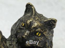 1 Adorable Fin Du 20ème Siècle Miniature Vintage Bronze Peint À Froid Ludique Chat