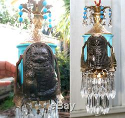 1o2 Verre Noir Métal Cat Swag Lampe Lustre Opalin Cristal Perles Art Déco Ins