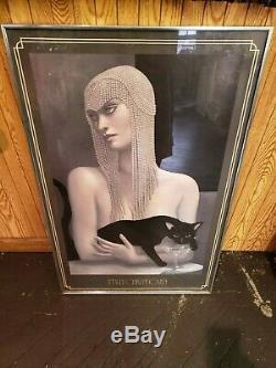 2 Jmw Chrzanoska Solitaire Lithograph Art Déco Femme Avec Le Chat Noir Encadré