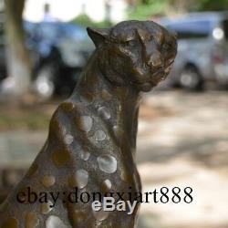 30 CM Western Art Deco Bronze Pantera Pur Panther Lion Animaux Sit Sculpture