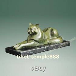 33 CM Art Déco Occidental Chaton Pur Bronze En Marbre Tomcat Cat Sculpture Abstraite