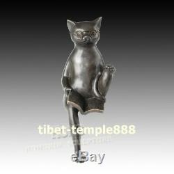33 CM Western Art Déco Pure Figure De Bande Dessinée Bronze Le Chat Lecture Du Livre Sculpture