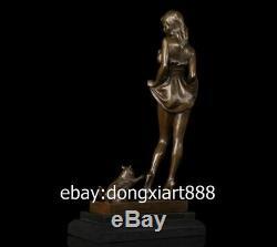 40 CM Western Art Deco Bronze Jeunes Femmes Fille Belle Jeune Fille Et La Sculpture D'art De Chat