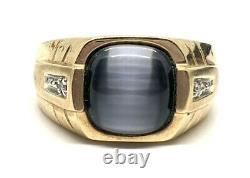 417 10k Oeil De Chat En Or Massif 4ct Chrysoberyl. 1ctw Diamond Pour Hommes 6,9g Anneau 12183