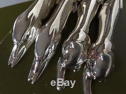 4 Christofle Gallia Chien Chat Plaque Argent Animaux Couteaux Repose Art Deco Sandoz